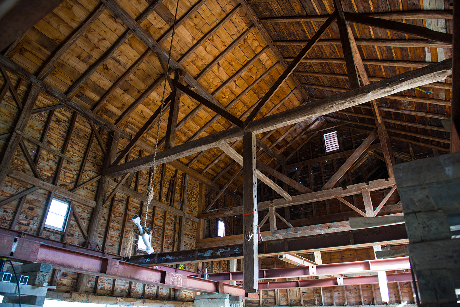 Interior of main barn historic restoration. Spencertown, NY.