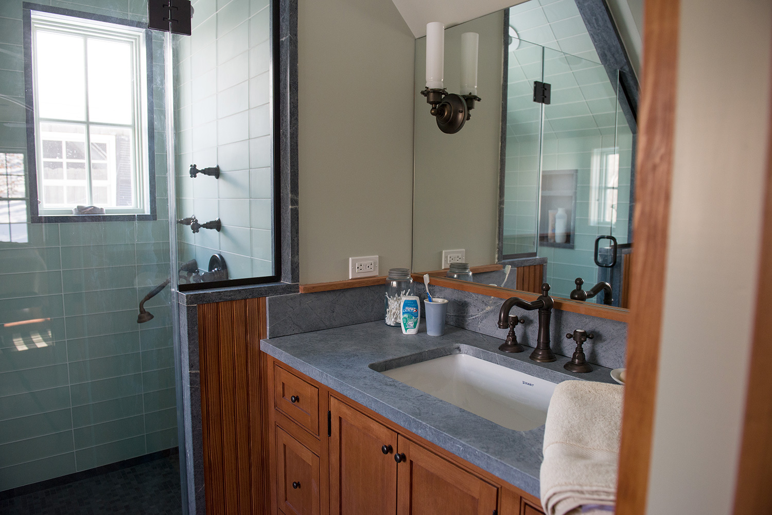 The spa feel in a custom bathroom including custom Fir Vanity built in our shop. Austerlitz, NY.